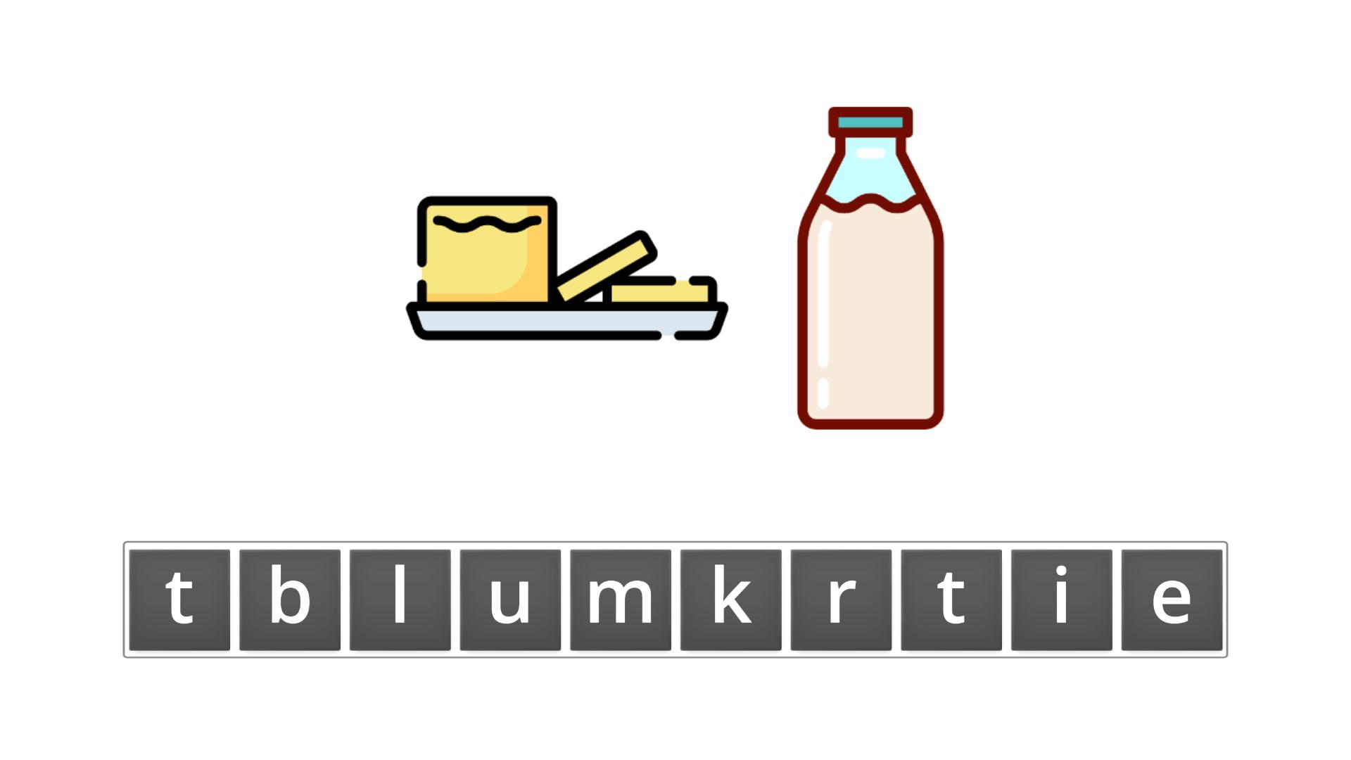 esl resources - flashcards - compound nouns  - unscramble - buttermilk