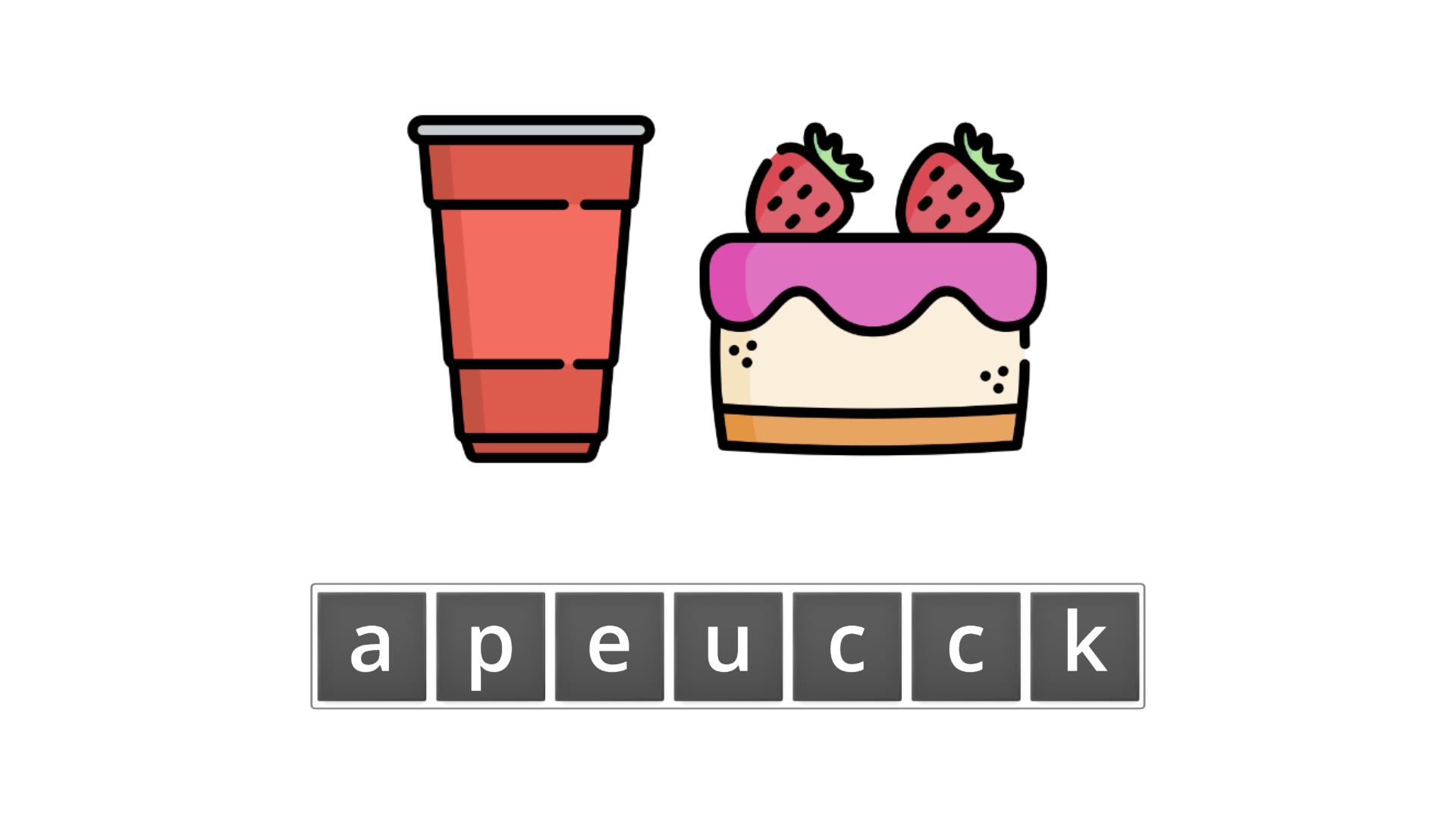esl resources - flashcards - compound nouns  - unscramble - cupcake