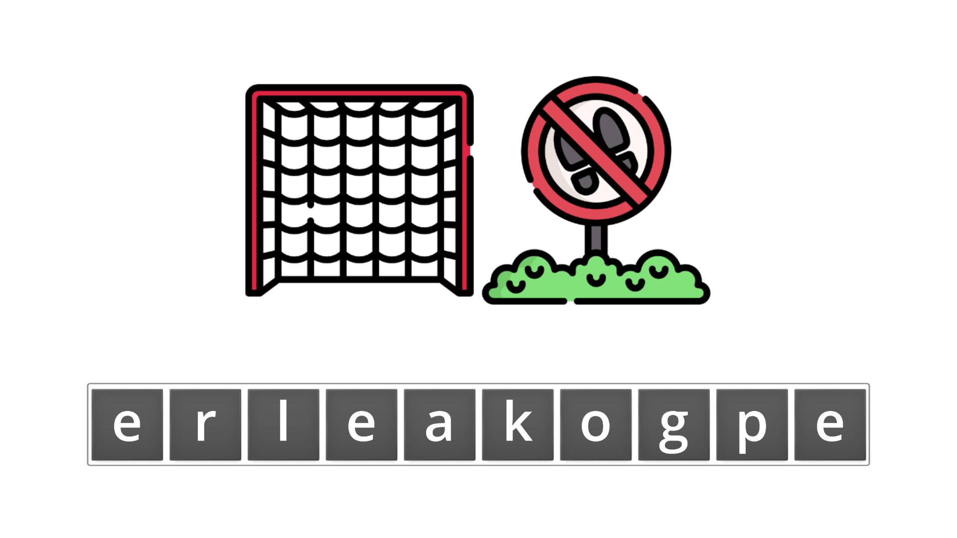esl resources - flashcards - compound nouns - unscramble - goalkeeper