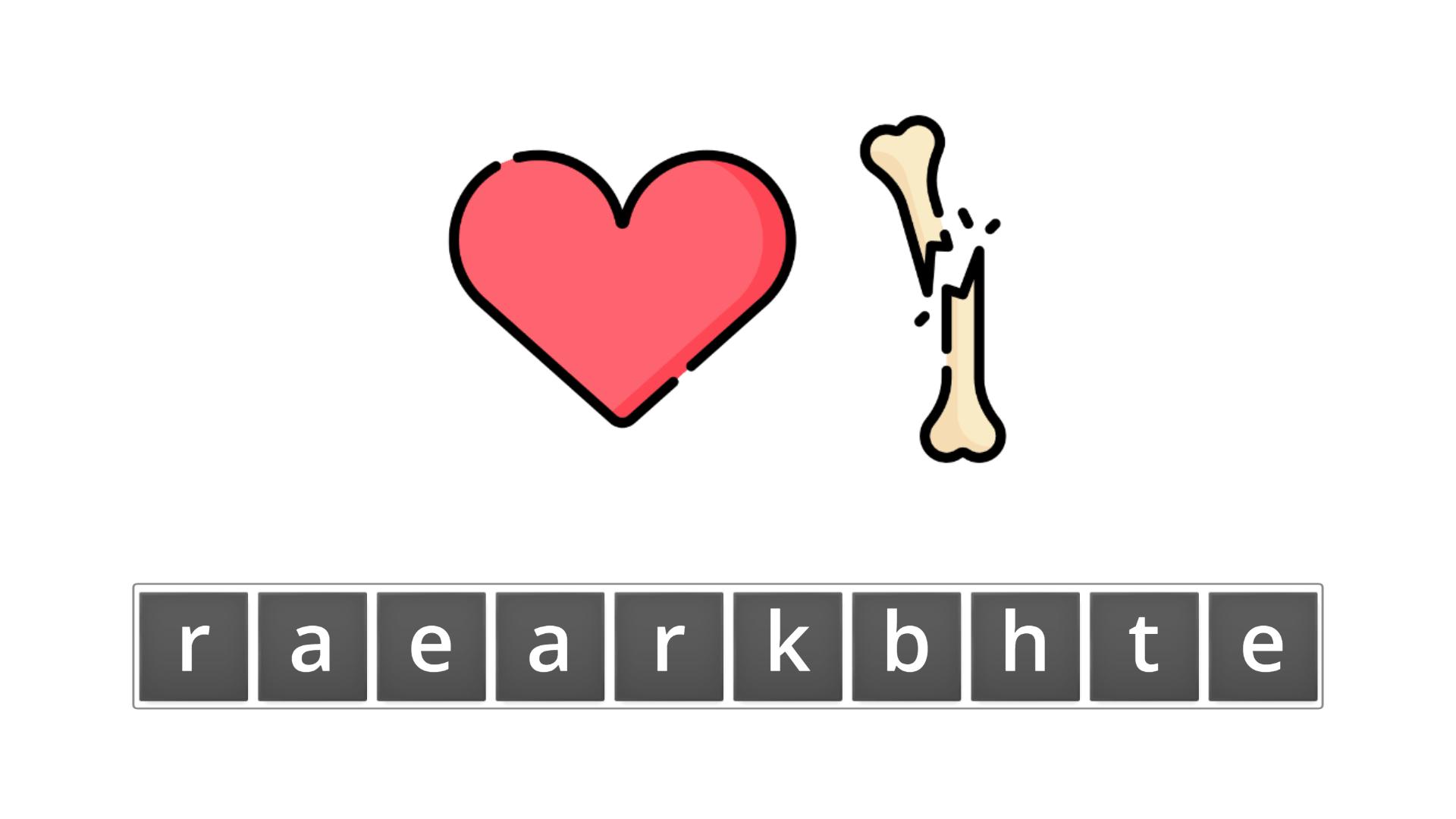 esl resources - flashcards - compound nouns - unscramble - hearbreak