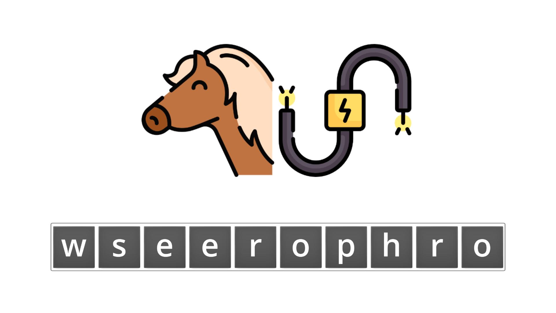esl resources - flashcards - compound nouns  - unscramble - horsepower