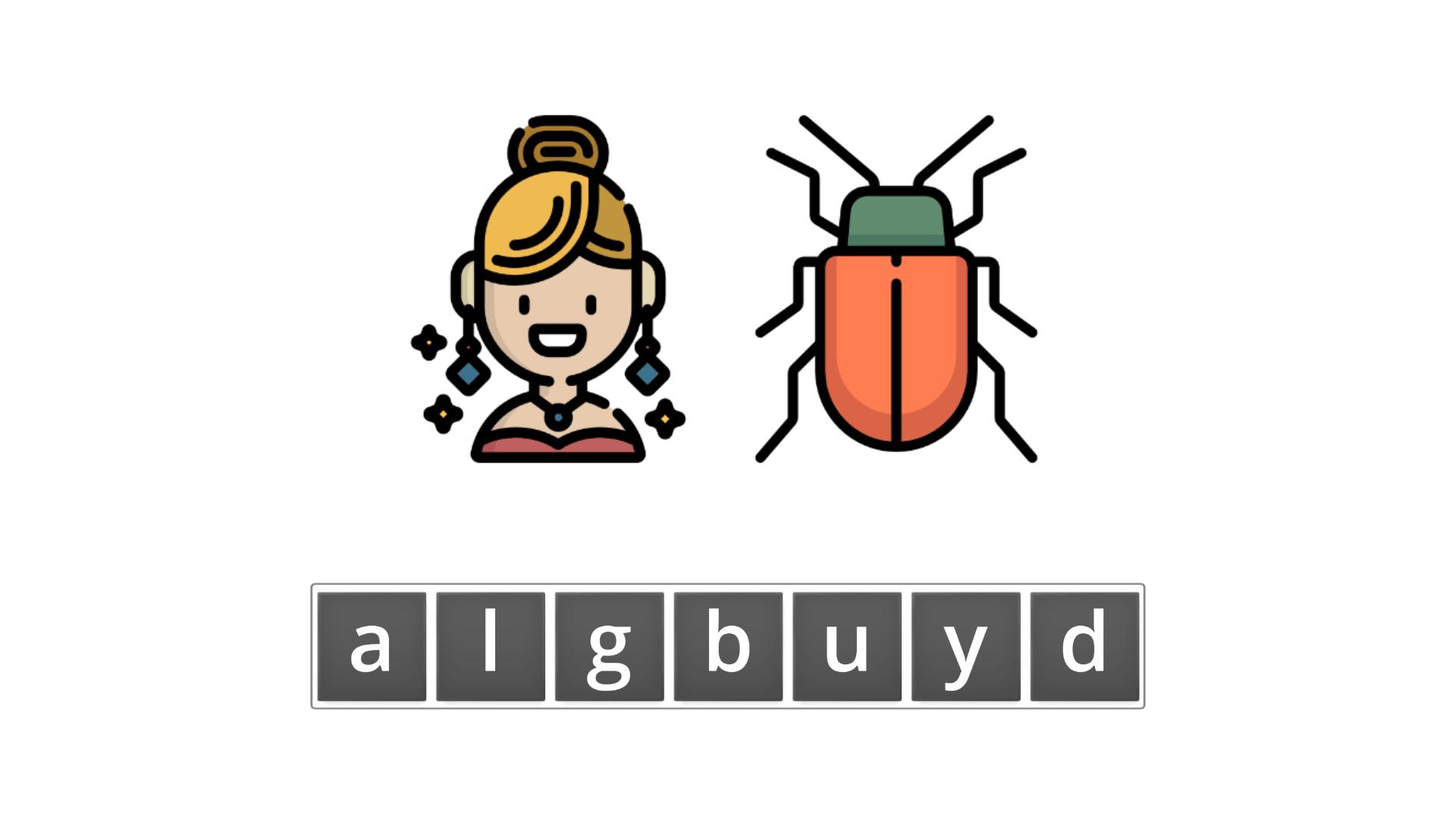 esl resources - flashcards - compound nouns  - unscramble - ladybug