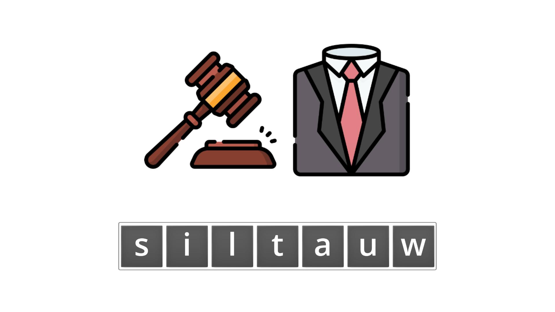 esl resources - flashcards - compound nouns  - unscramble - lawsuit
