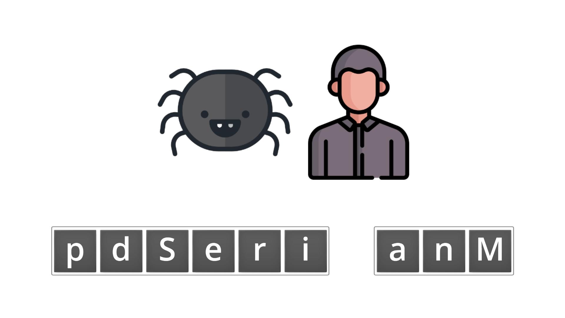 esl resources - flashcards - compound nouns  - unscramble - spider man