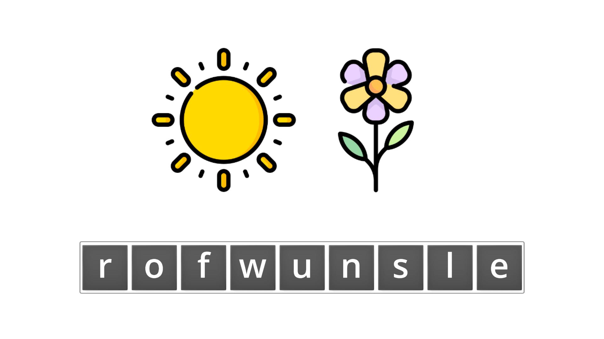 esl resources - flashcards - compound nouns  - unscramble - sunflower