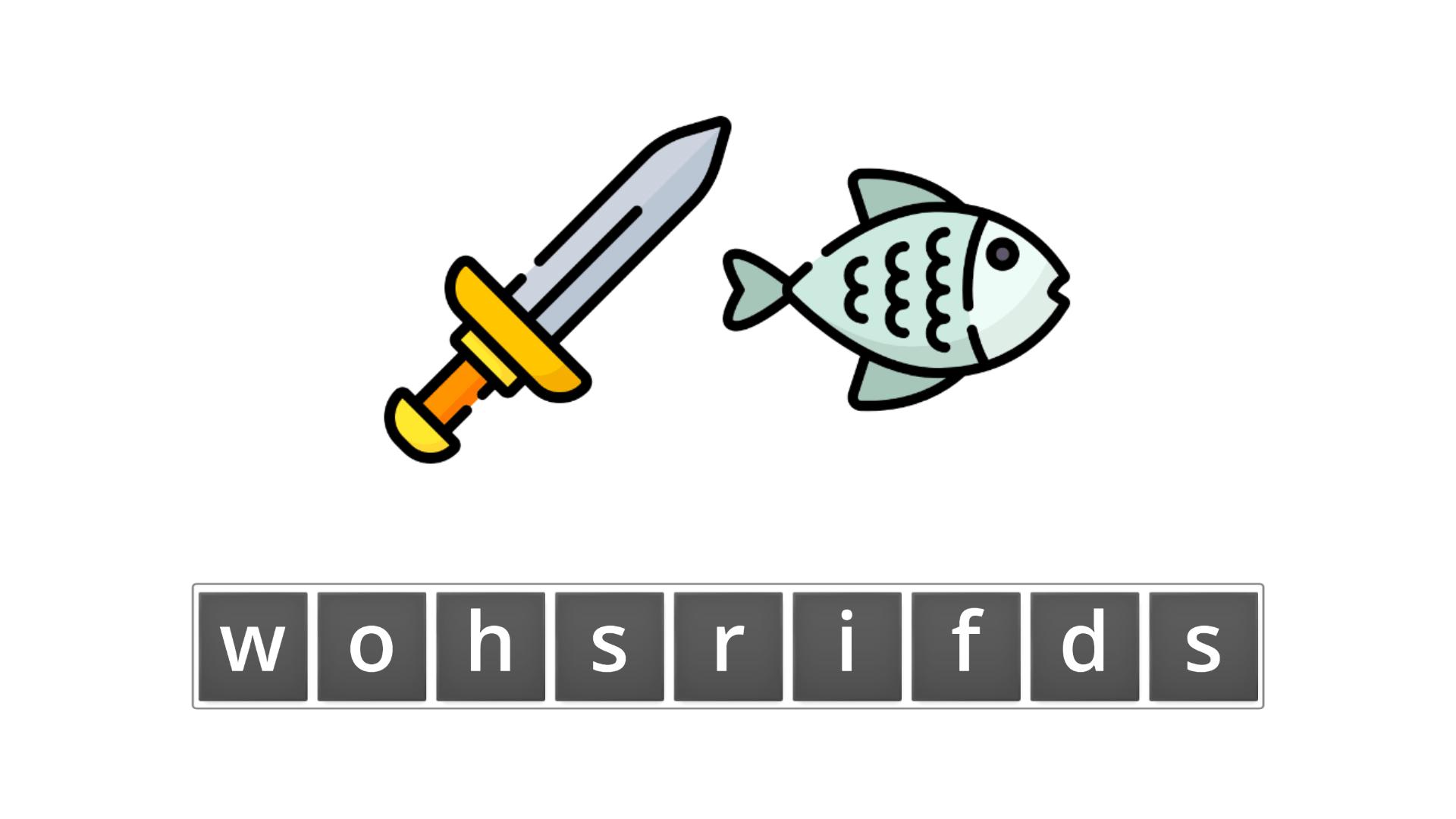 esl resources - flashcards - compound nouns  - unscramble - swordfish