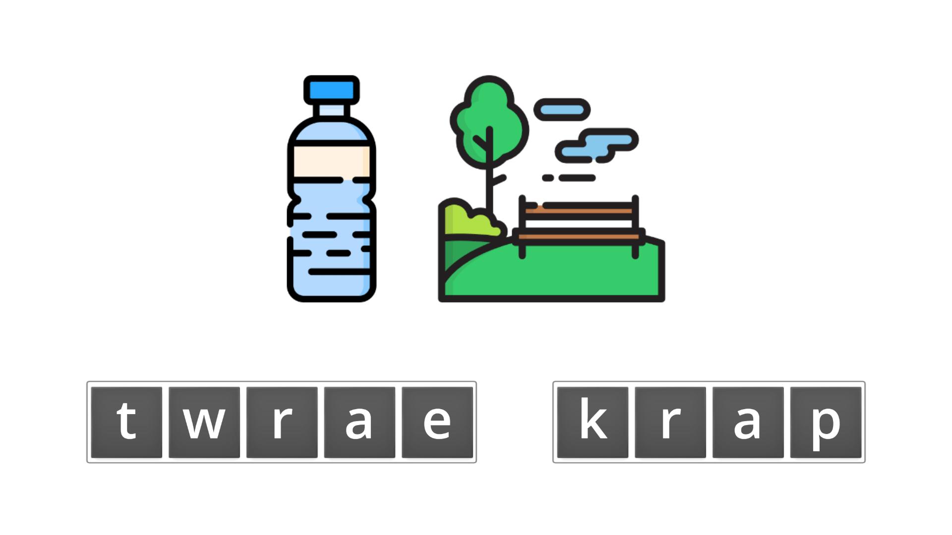 esl resources - flashcards - compound nouns  - unscramble - water park