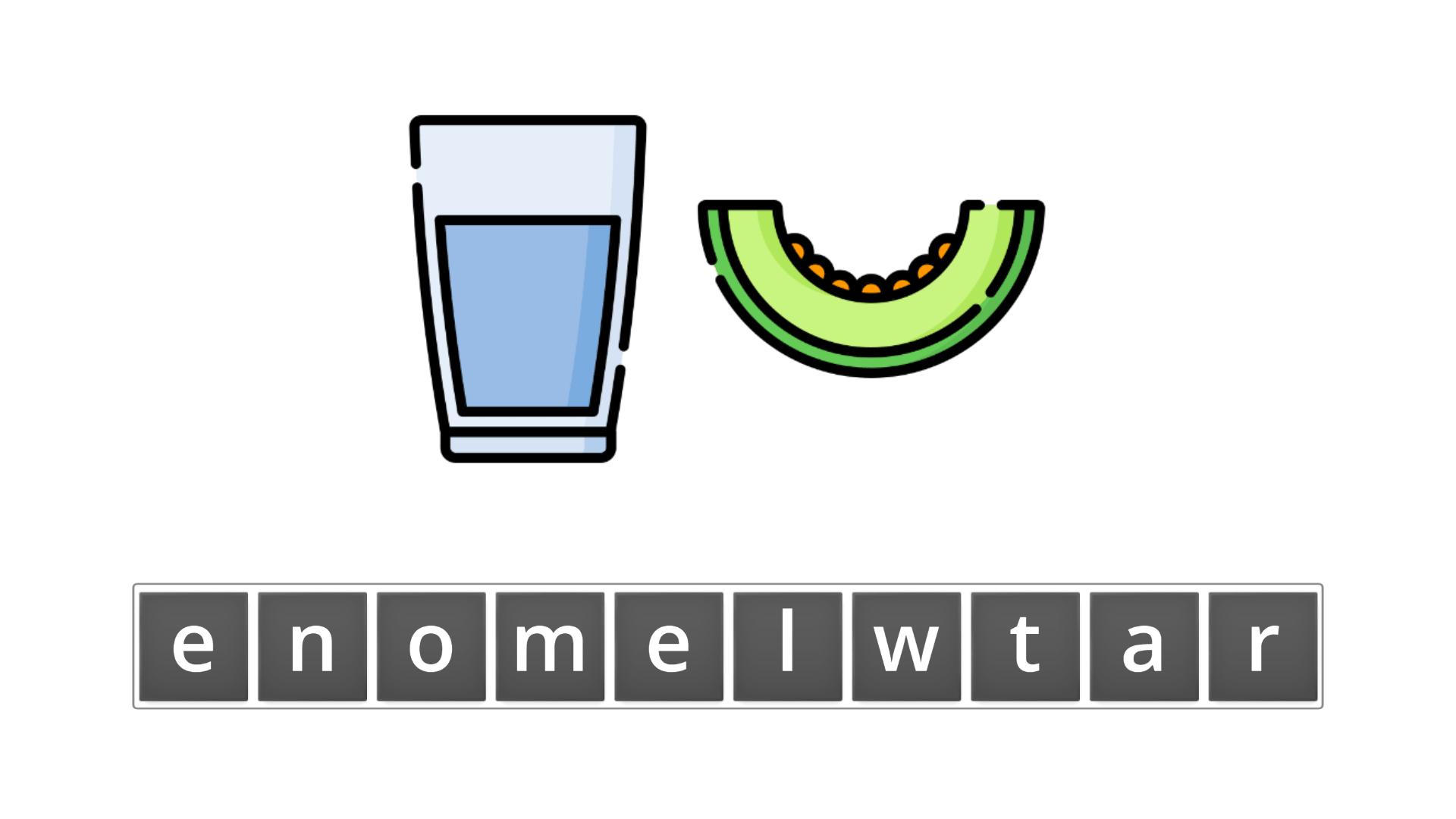 esl resources - flashcards - compound nouns  - unscramble - watermelon